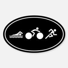 Triathlon Icons Sticker (Oval)
