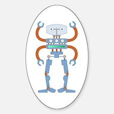 4 Armed Robot Sticker (Oval)