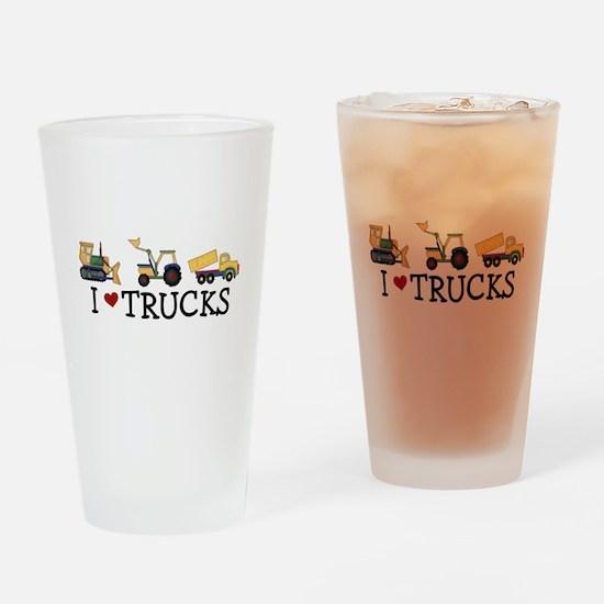 I Love Trucks Drinking Glass