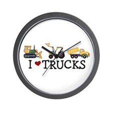 I Love Trucks Wall Clock