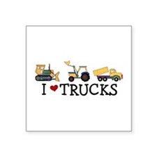 "I Love Trucks Square Sticker 3"" x 3"""