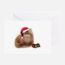 Persian Cat with Christmas Balls Greeting Cards (P