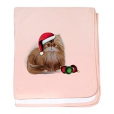 Persian Cat with Christmas Balls baby blanket