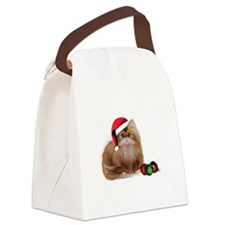 Persian Cat with Christmas Balls Canvas Lunch Bag