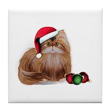 Persian Cat with Christmas Balls Tile Coaster