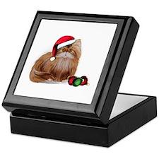 Persian Cat with Christmas Balls Keepsake Box