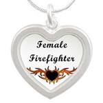 Female Firefighter Tattoo Silver Heart Necklace