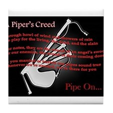Piper's Creed (Black) Tile Coaster