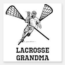 "Lacrosse Grandma Square Car Magnet 3"" x 3"""