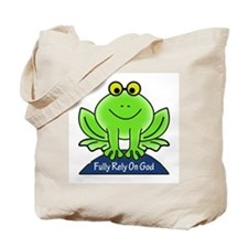 Fully Rely On God Frog Tote Bag