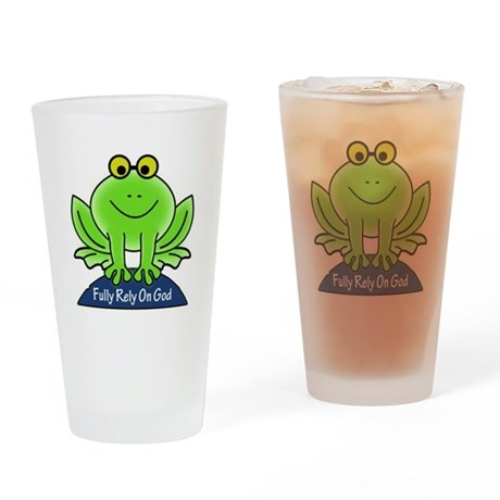 Fully Rely On God Frog Drinking Glass