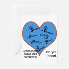 Handprints on your heart - 7 kids Greeting Card