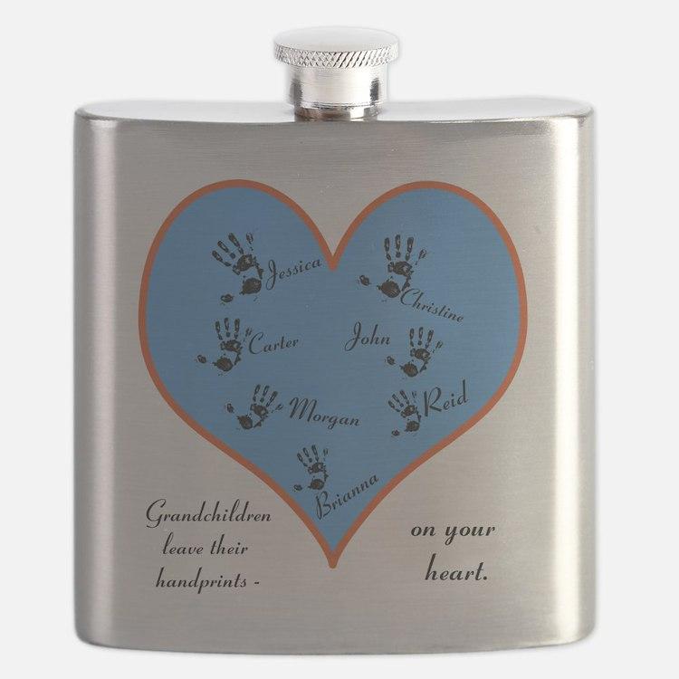 Handprints on your heart - 7 kids Flask