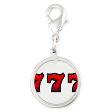 777 Silver Round Charm