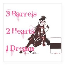 3 Barrels, 2 Hearts, 1 Dream Square Car Magnet 3""