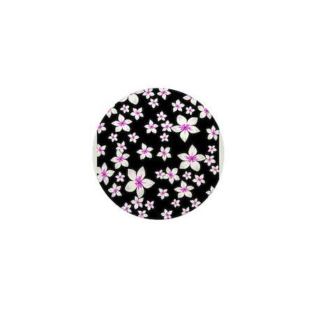 Bright pink and white frangipani on black Mini But