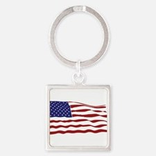 USA Flag Square Keychain