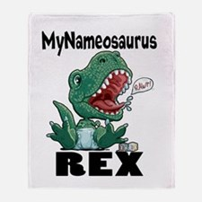 Personalizable T-Rex Throw Blanket