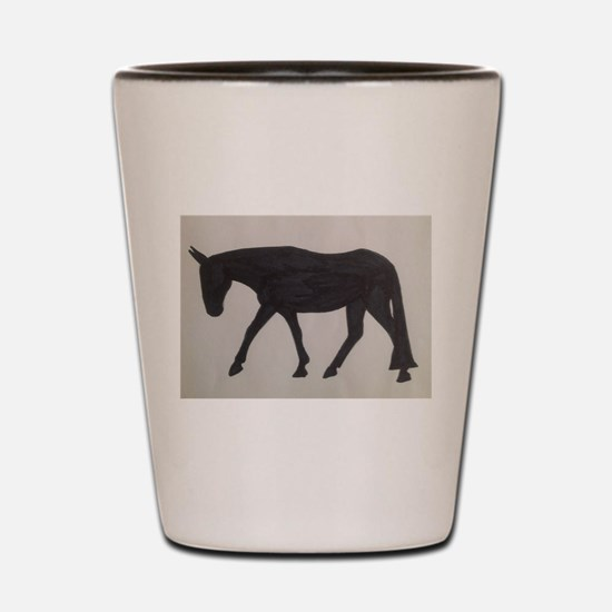 Mule outline Shot Glass