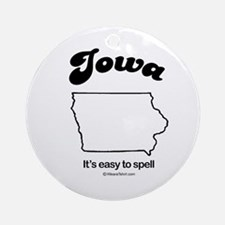 IOWA: It's easy to spell Ornament (Round)