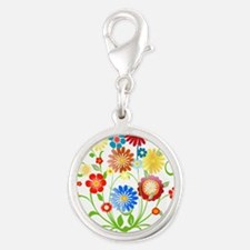 Personalized floral light Silver Round Charm