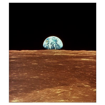 Apollo 11 view of Earth rising over Moon's horizon Canvas Art