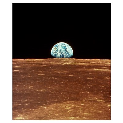 Apollo 11 view of Earth rising over Moon's horizon Poster
