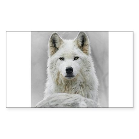 White Wolf Sticker (Rectangle)