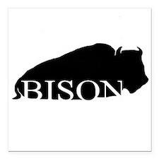"""Black Bison Square Car Magnet 3"""" x 3"""""""