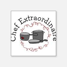 """Chef Extraordinaire Square Sticker 3"""" x 3"""""""