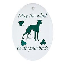 Sighthound and Shamrocks Oval Ornament
