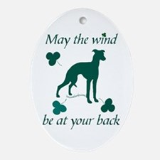 Sighthound and Shamrocks Oval Ornament