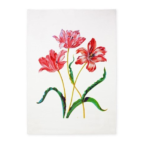 Maria Sibylla Merian Tulips 5'x7'Area Rug