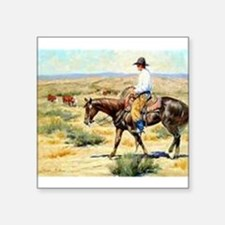 "Cowboy Painting Square Sticker 3"" x 3"""