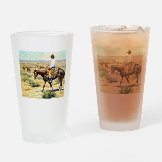Cowboy Painting Drinking Glass