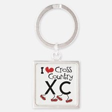 I heart Cross Country Square Keychain