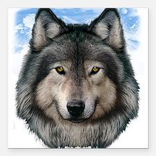 "Wolf Head 2 Square Car Magnet 3"" x 3"""