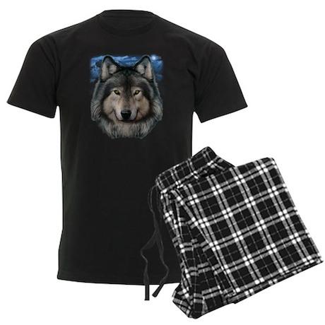 Wolf Head 2 Men's Dark Pajamas