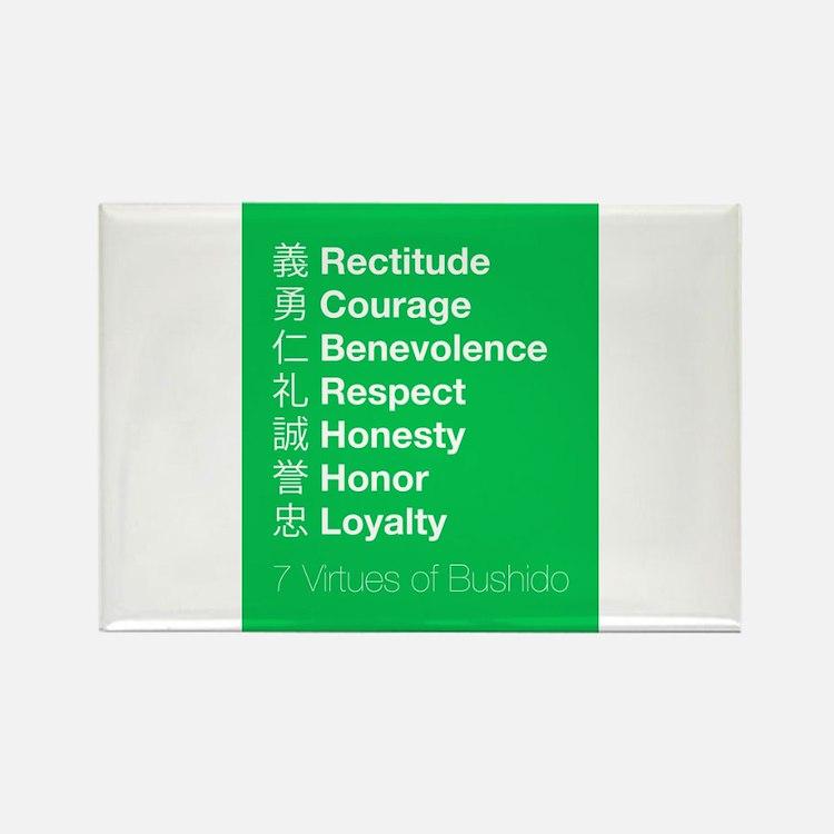 The 7 Virtues of Bushido Rectangle Magnet
