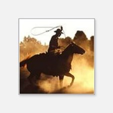 "Roping Cowboy Square Sticker 3"" x 3"""