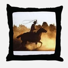 Roping Cowboy Throw Pillow