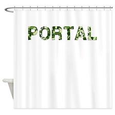 Portal, Vintage Camo, Shower Curtain