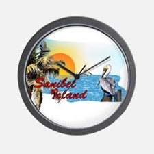 Sanibel Sunset with Pelican Wall Clock