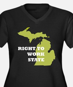Right To Work State Michigan Women's Plus Size V-N