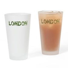 London, Vintage Camo, Drinking Glass