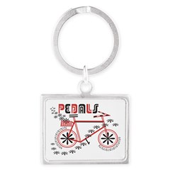 Pedals Cyclist Landscape Keychain