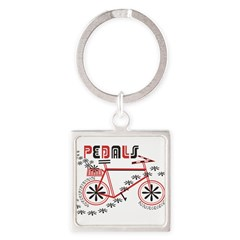 Pedals Cyclist Square Keychain