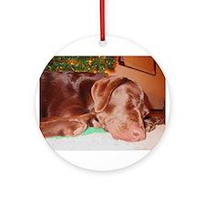 Cute Chocolate lab christmas Ornament (Round)