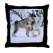 Wolves Playing Throw Pillow