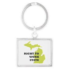 Right To Work State Michigan Landscape Keychain